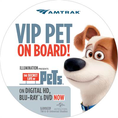 Amtrak and Universal Holding Pets Ride for Free Promotion