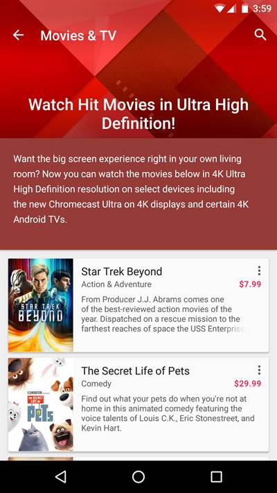 Google Play Makes Way for 4K