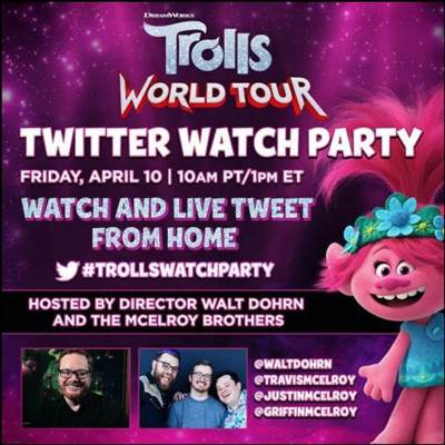 Trolls World Tour Twitter Watch Party Announced for April 10